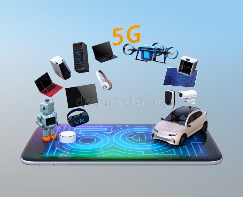 Dispositivos elegantes, abejón, vehículo autónomo y robot en el teléfono elegante ilustración del vector