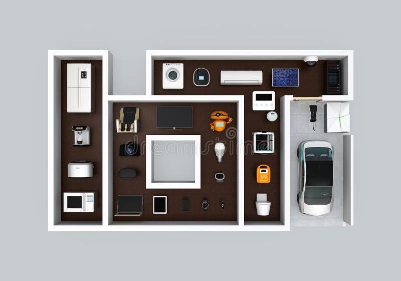 Dispositivos elegantes en la disposición como 'IoT' Internet del concepto de las cosas para los productos de consumo ilustración del vector