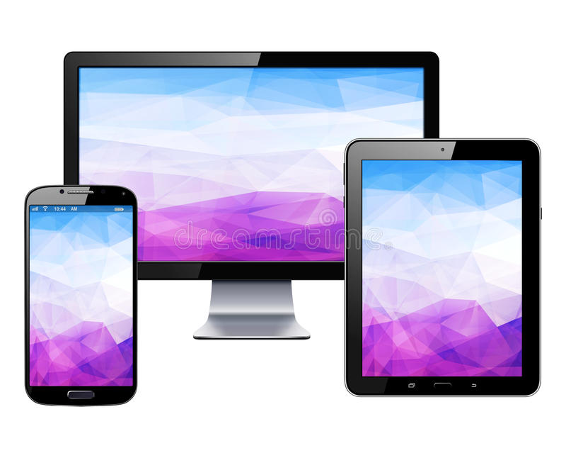 Dispositivos eletrónicos ajustados ilustração stock
