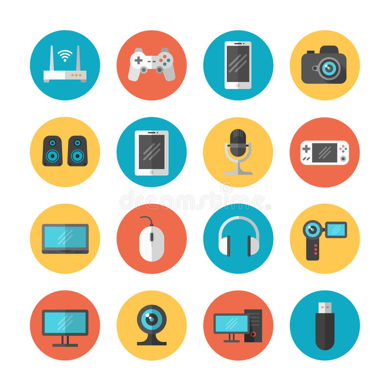 Dispositivos eletrônicos e ícones lisos do vetor do dispositivo ilustração do vetor