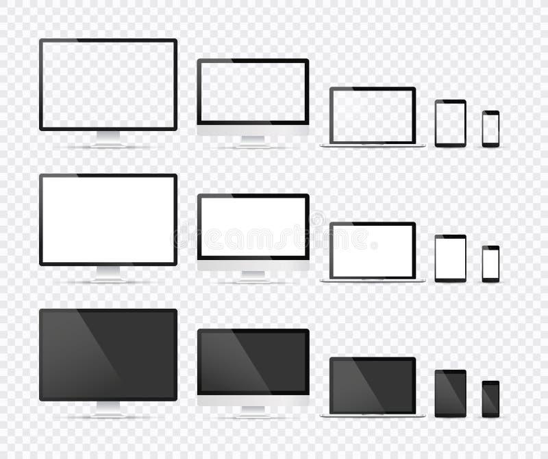 Dispositivos eletr?nicos, molde do vetor do design web com port?til, tabuleta, smartphone, computador Projeto liso, ilustra??o do ilustração stock