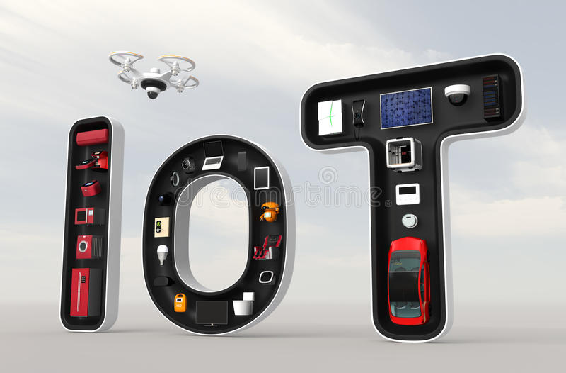 Dispositivos espertos na palavra IoT ilustração royalty free