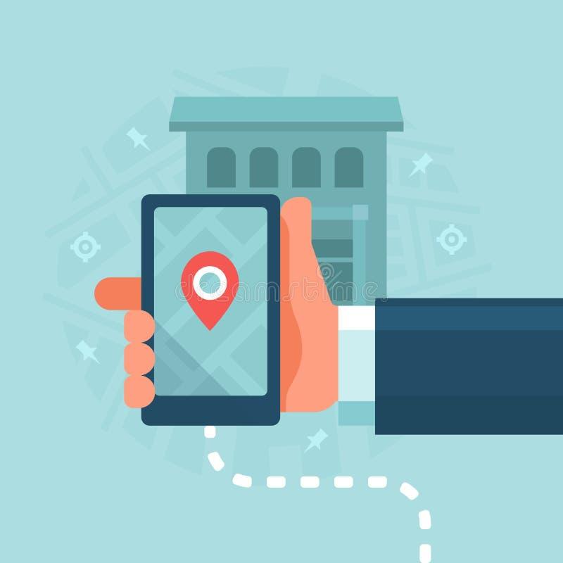 Dispositivos espertos no mercado local do negócio ilustração stock