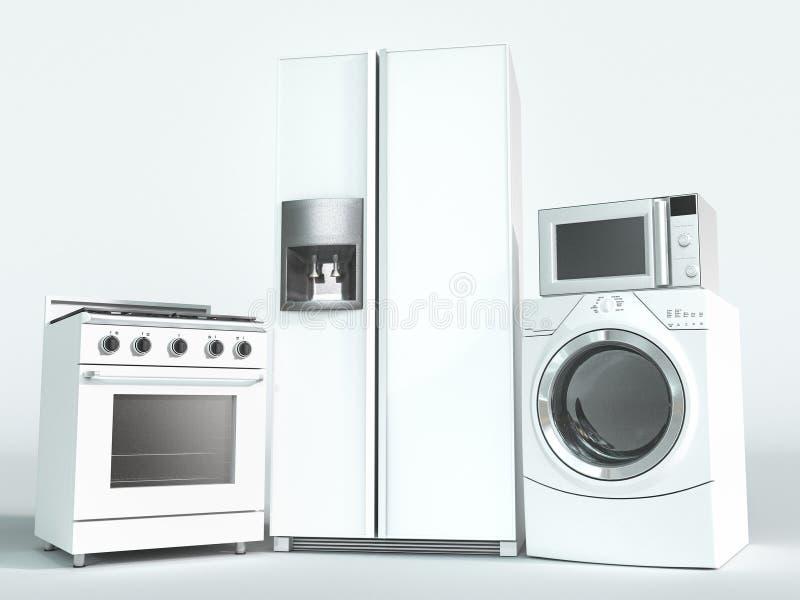 Dispositivos, forno, refrigerador e máquina de lavar imagens de stock