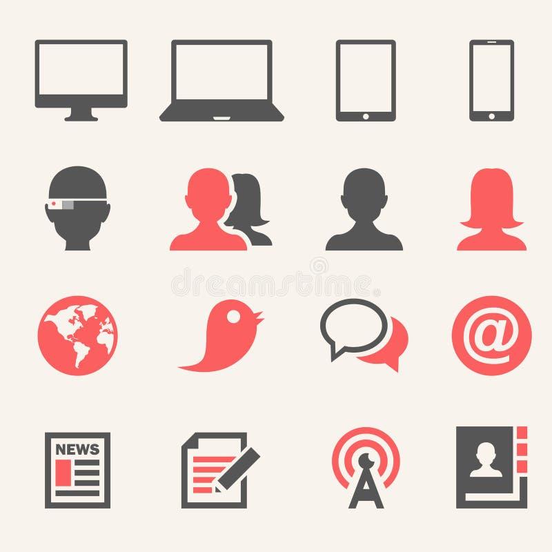 Dispositivos. Grupo do ícone ilustração stock