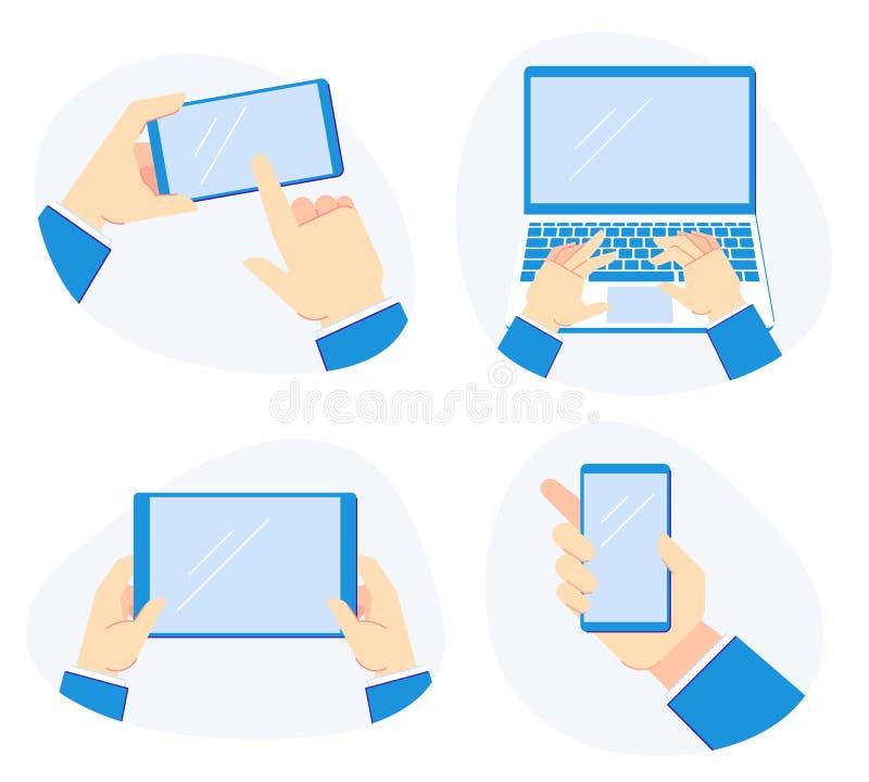 Dispositivos guardando à disposição Smartphone nas mãos, no laptop da posse e no grupo móvel da ilustração do vetor da tabuleta ilustração stock