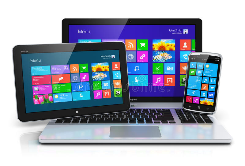 Dispositivos móveis com relação do écran sensível ilustração royalty free
