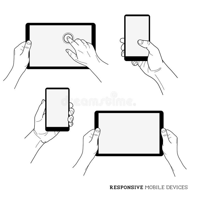 Dispositivos móveis responsivos ilustração do vetor