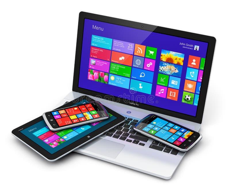 Dispositivos móviles con el interfaz de la pantalla táctil ilustración del vector