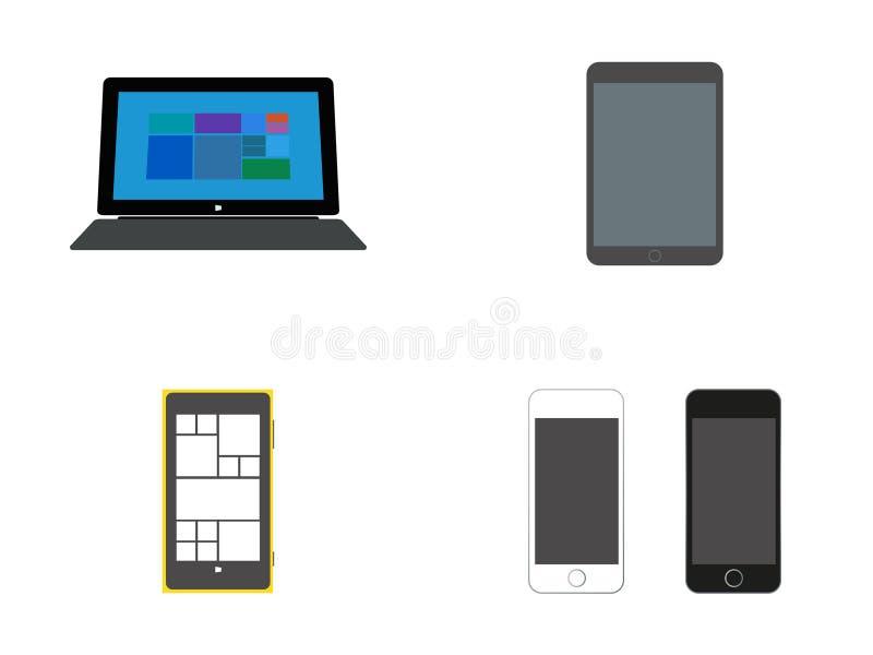 Dispositivos móviles: Tableta con el teclado, las tabletas y los teléfonos de Smart ilustración del vector