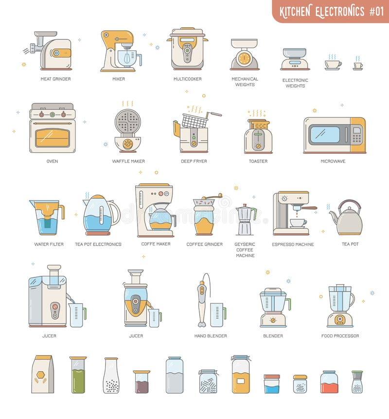 Dispositivos pequenos da eletrônica da cozinha da coleção do ícone do esboço: máquina de café, fabricante de café, robô de cozinh fotos de stock