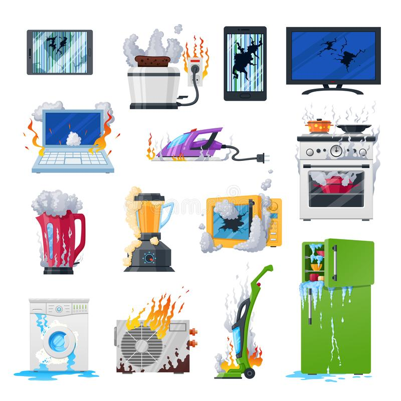Dispositivos quebrados, equipo y artilugios dañados hogar libre illustration