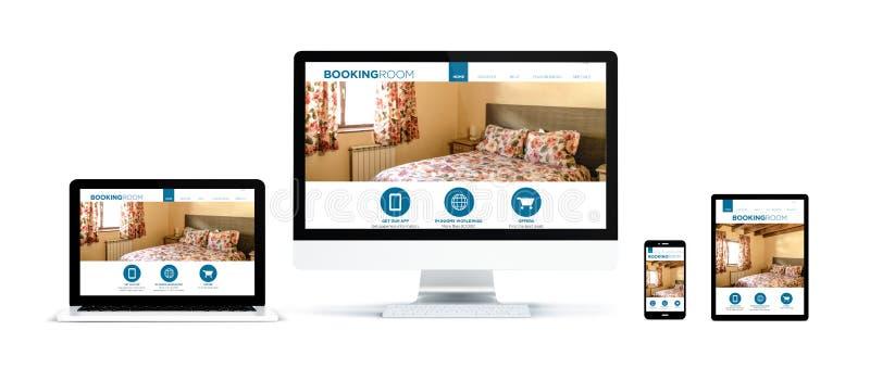 dispositivos realistas aislados con sitio web del sitio de reservación stock de ilustración