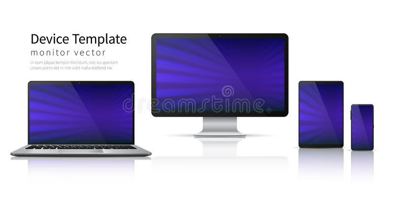 Dispositivos realistas Maqueta del teléfono de la tableta del ordenador portátil del ordenador, exhibición móvil del artilugio de ilustración del vector