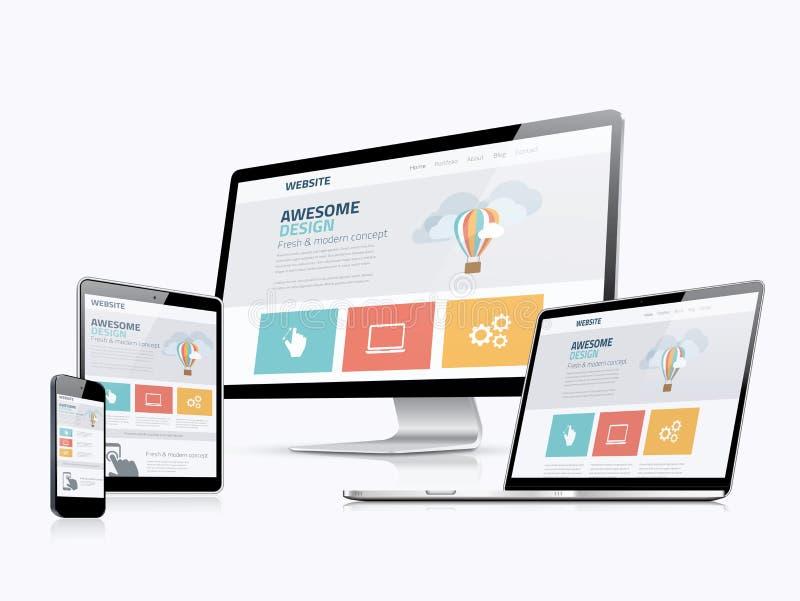 Dispositivos responsivos lisos do desenvolvimento do Web site do conceito de design web ilustração royalty free