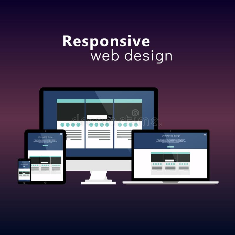 Dispositivos responsivos lisos do desenvolvimento do Web site do conceito de design web ilustração do vetor