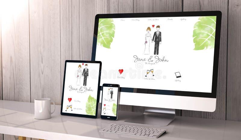 dispositivos responsivos no projeto do Web site do casamento do espaço de trabalho ilustração royalty free