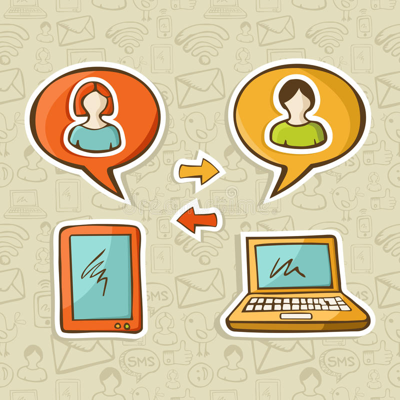 Dispositivos sociais dos media que conectam povos