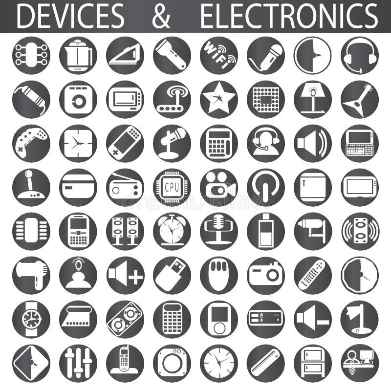 Dispositivos y electrónica ilustración del vector
