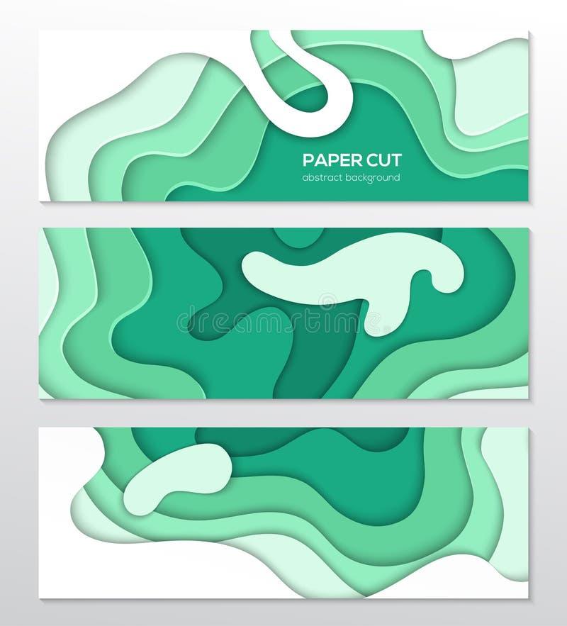 Disposizione astratta verde - insieme dei manifesti variopinti moderni di vettore illustrazione vettoriale