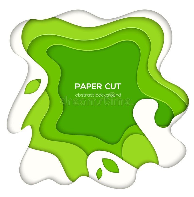 Disposizione astratta verde - la carta di vettore ha tagliato l'illustrazione illustrazione vettoriale