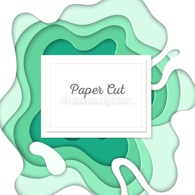 Disposizione astratta verde - la carta di vettore ha tagliato l'illustrazione illustrazione di stock