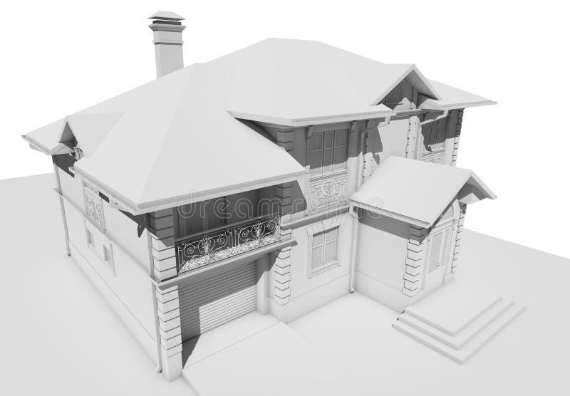Disposizione bianca del cottage, una vista del tetto distaccata royalty illustrazione gratis