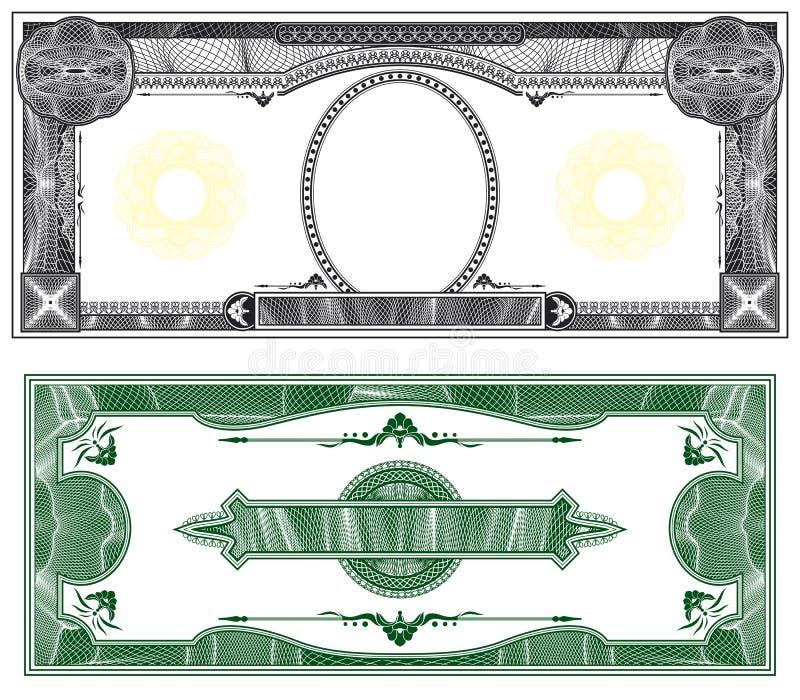 Disposizione in bianco della banconota illustrazione vettoriale