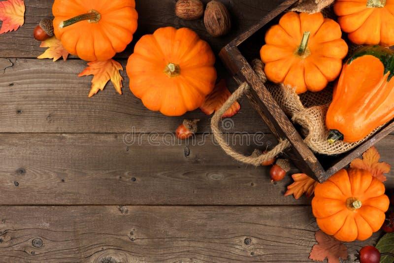Disposizione d'angolo di autunno delle foglie e delle zucche sopra legno fotografie stock libere da diritti