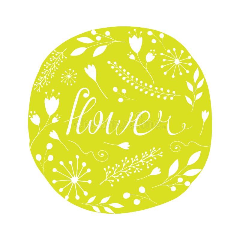 Disposizione dei fiori con l'iscrizione Illustrazione sveglia di vettore illustrazione vettoriale
