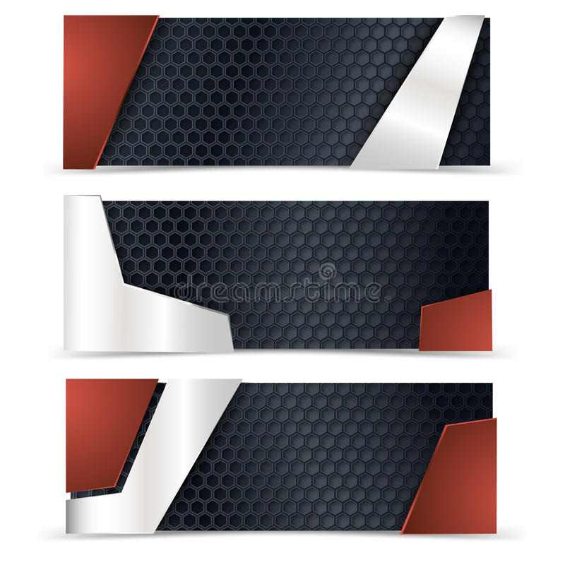 Disposizione del carbonio e metallica con gli elementi rossi di progettazione royalty illustrazione gratis
