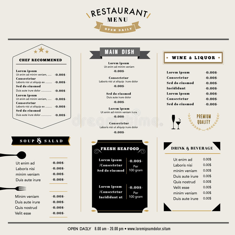 Disposizione del modello di progettazione del menu del ristorante con le icone e l'emblema royalty illustrazione gratis