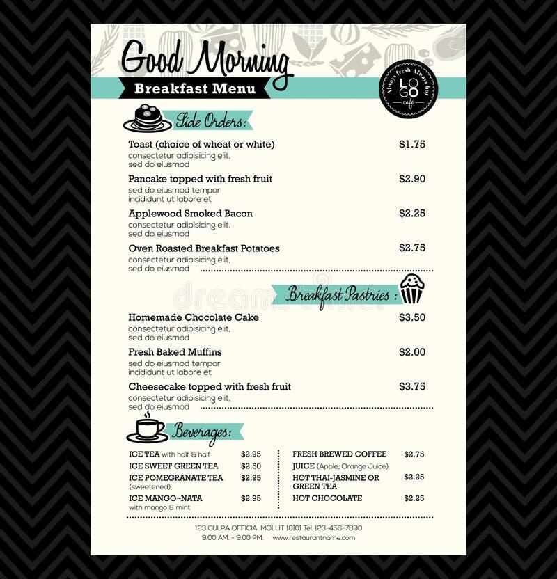 Disposizione del modello di progettazione del menu della prima colazione del ristorante illustrazione vettoriale