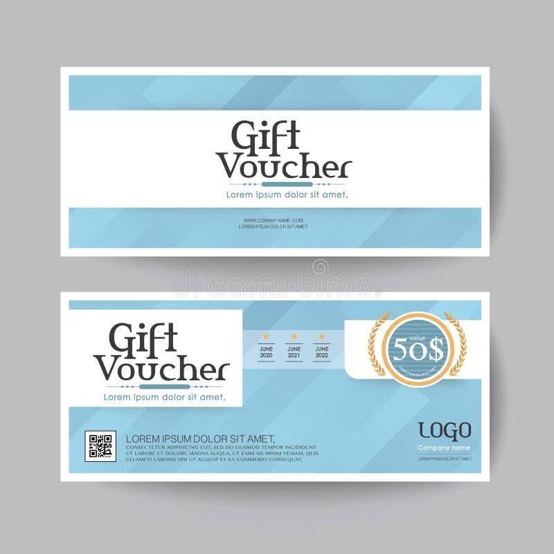 Disposizione del modello di vettore di progettazione del buono di regalo per l'insieme del regalo del biglietto da visita blu illustrazione di stock