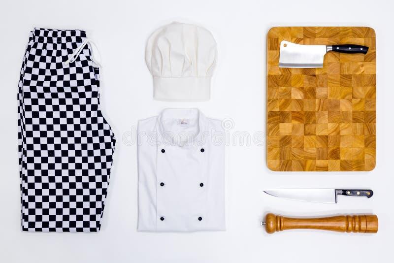 Disposizione del piano di bianchi del cuoco unico immagini stock libere da diritti