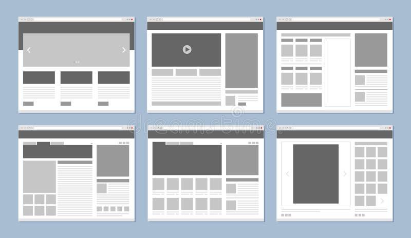 Disposizione del sito Web Finestra di browser di Internet del modello delle pagine Web con le insegne e la progettazione di vetto illustrazione vettoriale