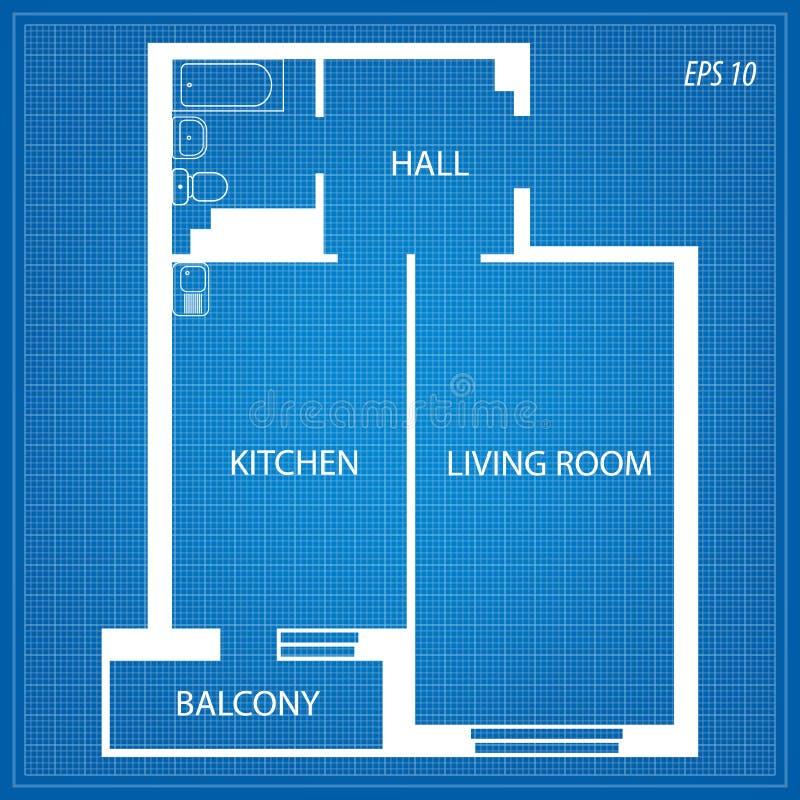 Disposizione dell'appartamento su fondo blu fotografia stock