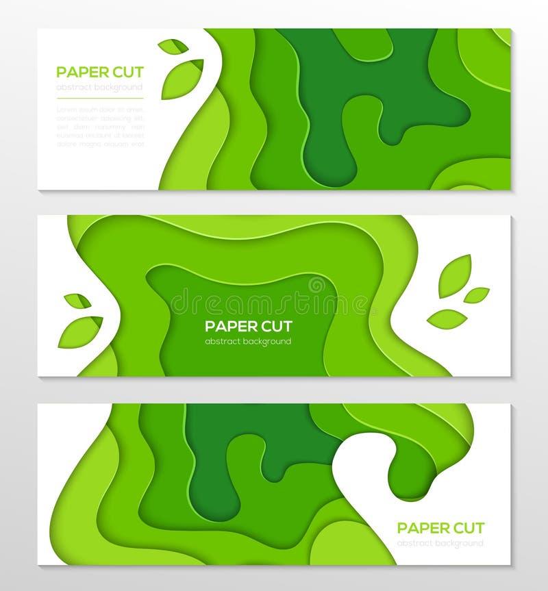 Disposizione dell'estratto di verde di erba - insieme dei manifesti variopinti moderni di vettore illustrazione vettoriale