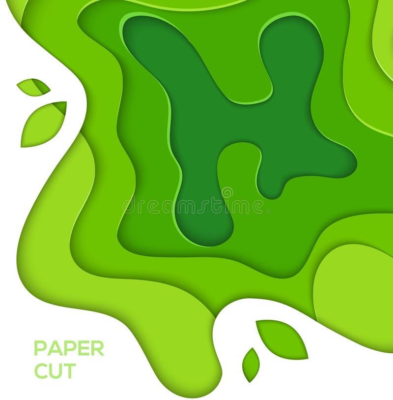 Disposizione dell'estratto di verde di erba - la carta di vettore ha tagliato l'illustrazione illustrazione di stock