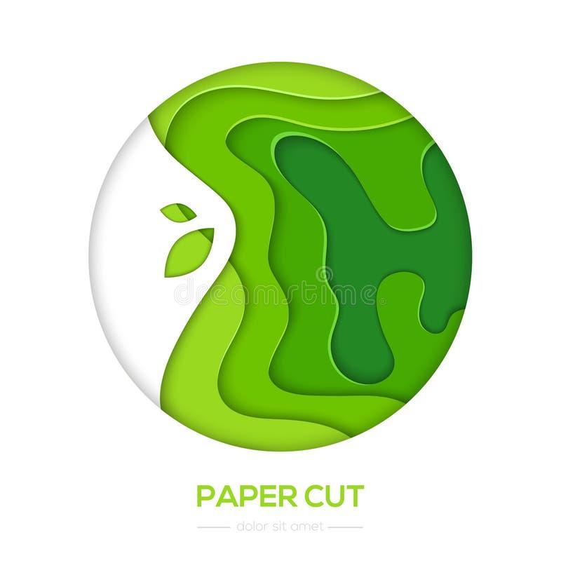 Disposizione dell'estratto di verde di erba - la carta di vettore ha tagliato l'insegna illustrazione di stock