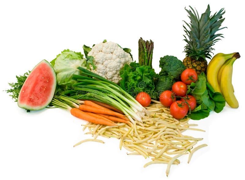 Disposizione della frutta e dei Veggies fotografia stock