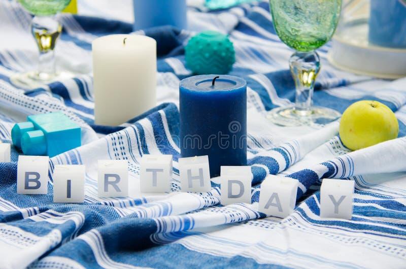 Disposizione della tabella di compleanno immagini stock libere da diritti