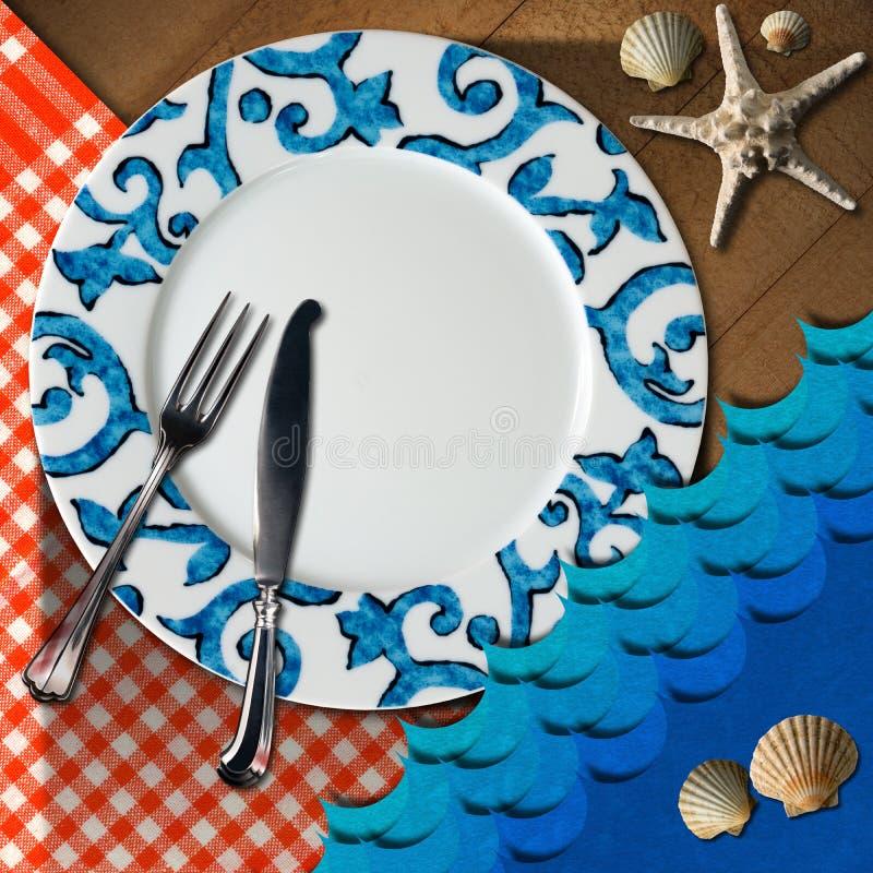 Disposizione della Tabella per il menu dei frutti di mare illustrazione vettoriale