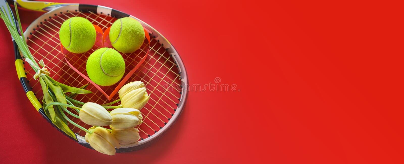 Disposizione di amore di tennis su fondo rosso con le palle della racchetta di tennis con i fiori bianchi dei tulipani del mazzo  immagini stock libere da diritti