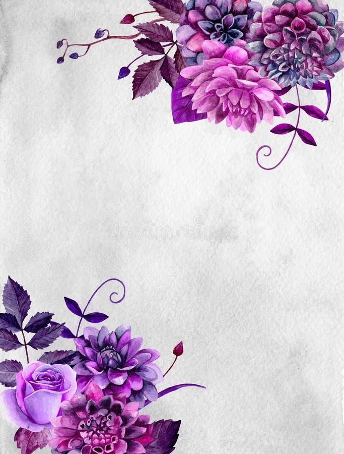 Disposizione di fiori porpora dell'acquerello illustrazione di stock