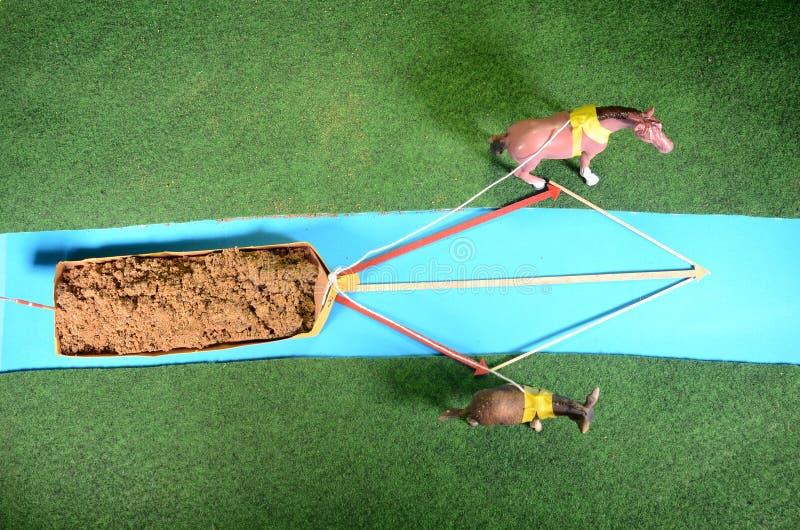 Disposizione di modello con due animali che rimorchiano una fisica della barca immagini stock libere da diritti