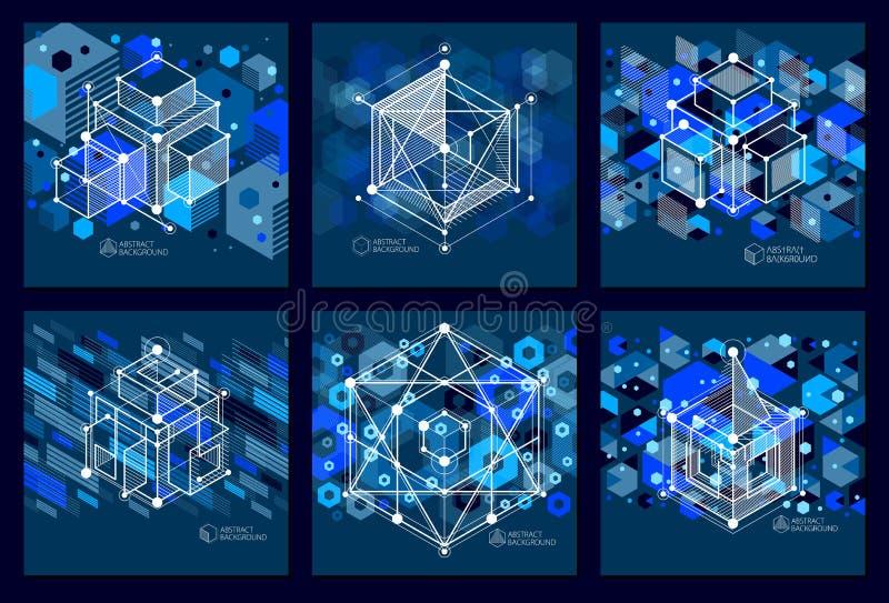 Disposizione di progettazione blu scuro del modello 3D per l'insieme degli opuscoli illustrazione di stock