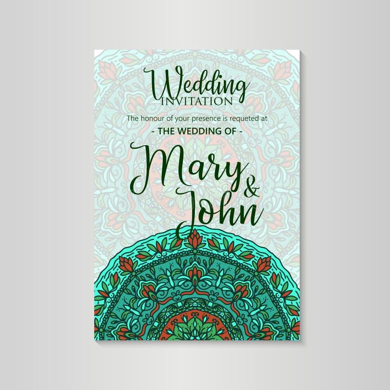 Disposizione di progettazione d'annata del modello per l'invito di nozze Invito di nozze, grazie cardare, conservano le carte di  illustrazione vettoriale