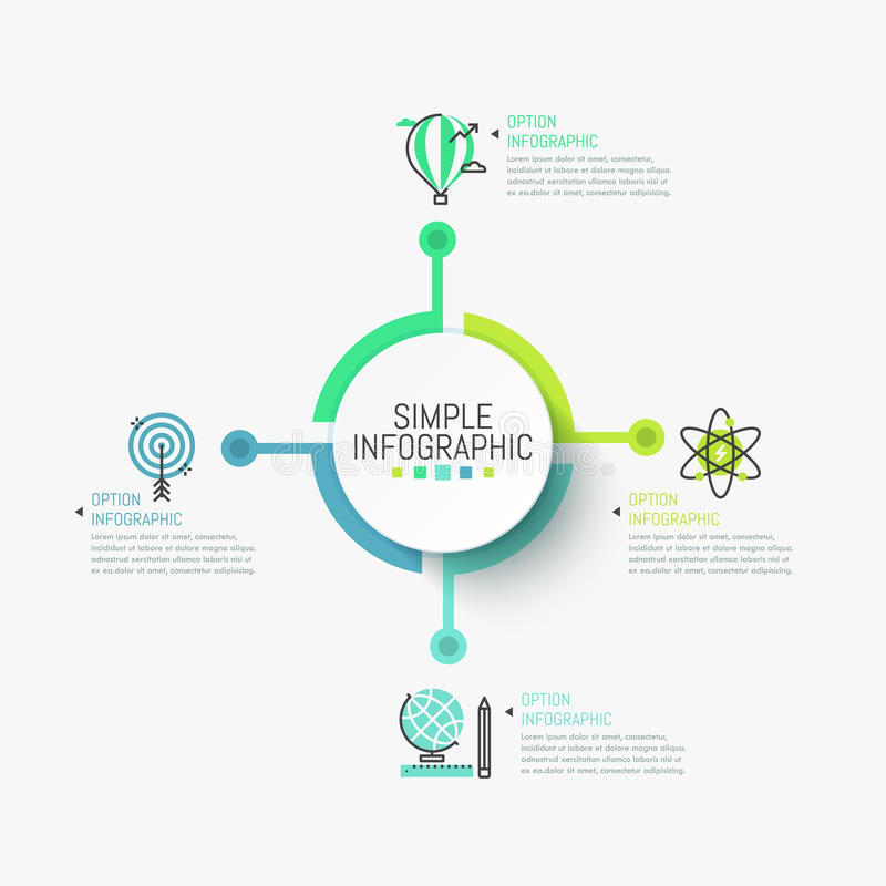 Disposizione di progettazione infographic di Minimalistic L'elemento rotondo centrale si è collegato con quattro icone e caselle  illustrazione vettoriale