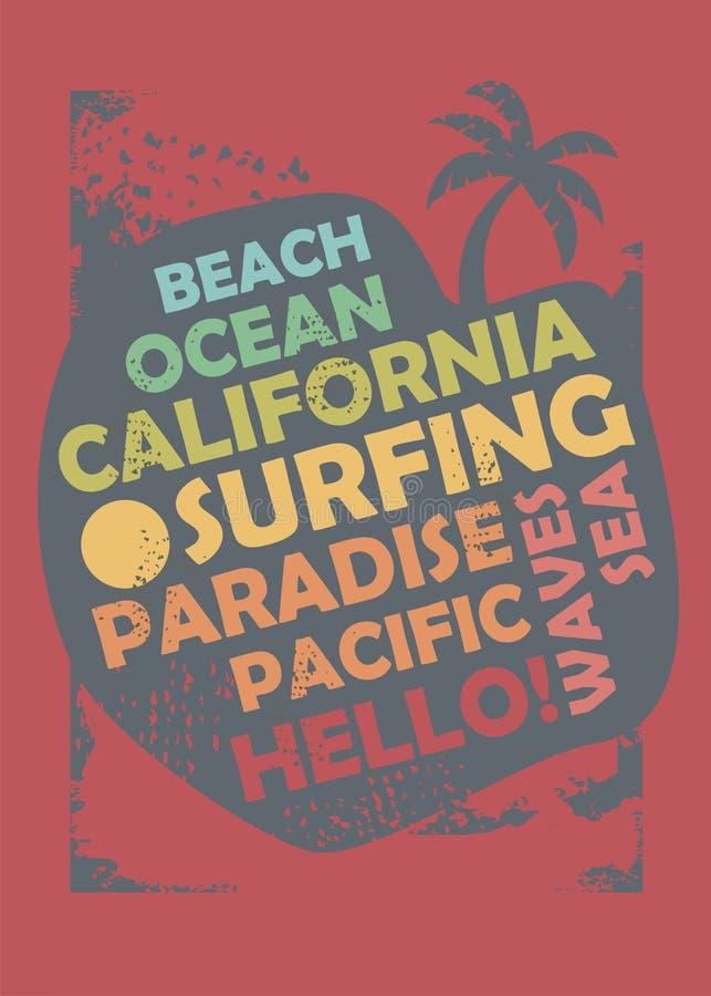 Disposizione di progettazione praticante il surfing della maglietta di California royalty illustrazione gratis